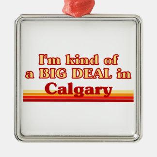 Je suis un peu une affaire à Calgary Ornement Carré Argenté