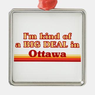 Je suis un peu une affaire à Ottawa Ornement Carré Argenté