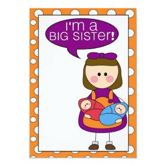 je suis une grande soeur (les jumeaux de carton d'invitation  12,7 cm x 17,78 cm