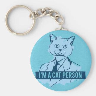 Je suis une personne Keychain de chat