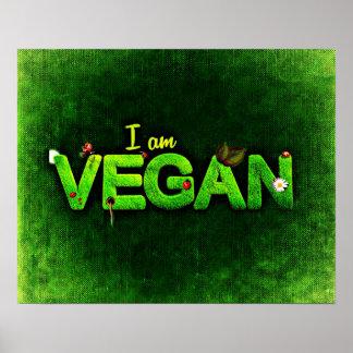 Je suis végétalien écrit avec une texture herbeuse posters