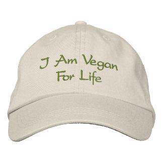 Je suis végétalien pendant la vie. Vert. Slogan. C Casquettes De Baseball Brodées
