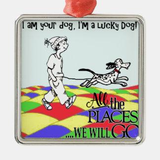 Je suis votre chien C&BMINEpurple Ornement Carré Argenté