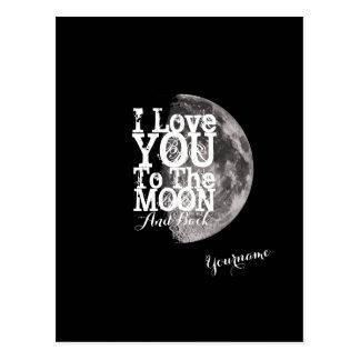 Je t'aime à la lune et au dos cartes postales