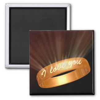 """""""Je t'aime"""" anneau - aimant carré"""