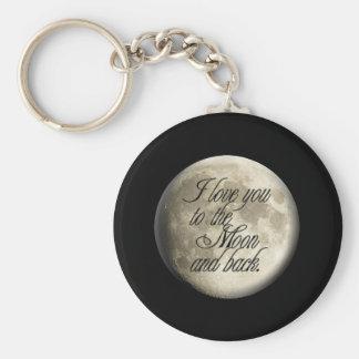Je t'aime au lunaire réaliste de lune et de dos porte-clé rond