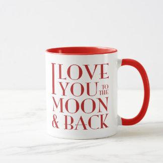 Je t'aime au rouge de lune et de dos sur le blanc tasse