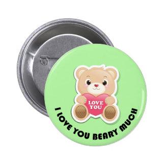 Je t'aime beary beaucoup badges avec agrafe
