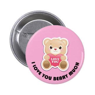 Je t'aime beary beaucoup badge avec épingle