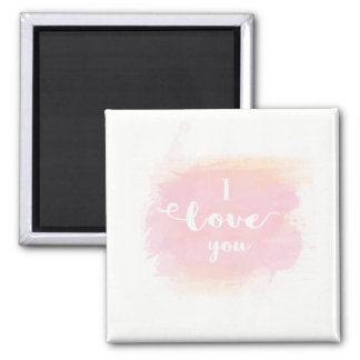 Je t'aime calligraphie blanche sur l'aquarelle magnet carré