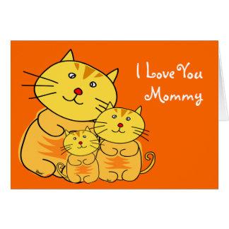 Je t'aime carte de chat du jour de mère de maman