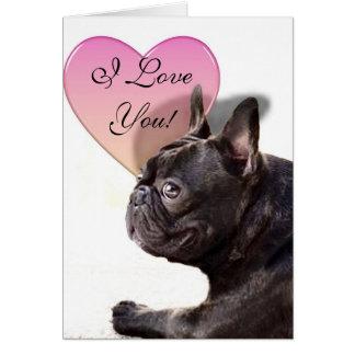 Je t'aime carte de voeux de bouledogue français