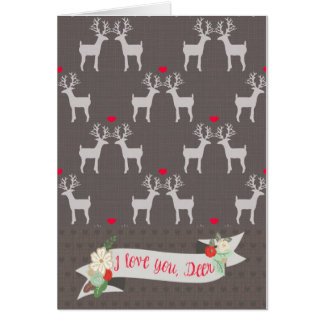 Je t'aime, carte de voeux de cerfs communs
