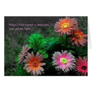 Je t'aime carte florale de marguerite de Gerbera