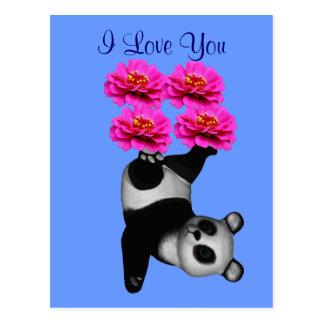 Je t'aime carte postale de photo de fleur d'ours
