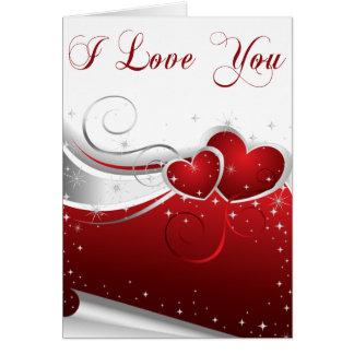 Je t'aime carte rouge et blanche de Valentine de