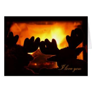 Je t'aime carte. Soirée chaude et confortable Cartes De Vœux