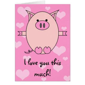 Je t'aime ce beaucoup ! Carte porcine de puissance