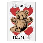 Je t'aime ce beaucoup - ours carte de vœux