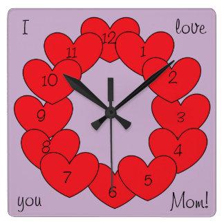 Je t'aime coeurs rouges personnalisés magnifiques horloge carrée