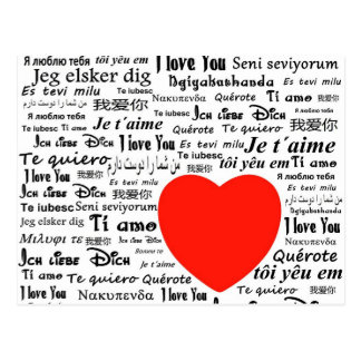 Je t'aime dans différentes langues cartes postales