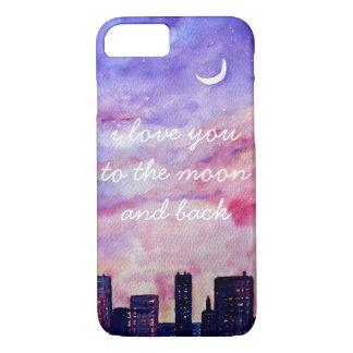 Je t'aime dans la lune et le coque iphone arrière