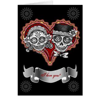 Je t'aime des cartes de crâne de sucre - ajoutez v