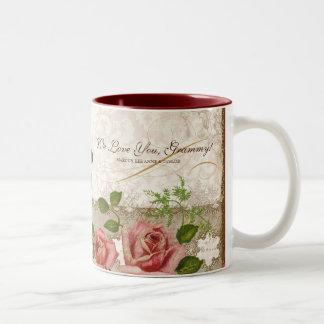 Je t'aime Grammy, tasse anglaise vintage de roses