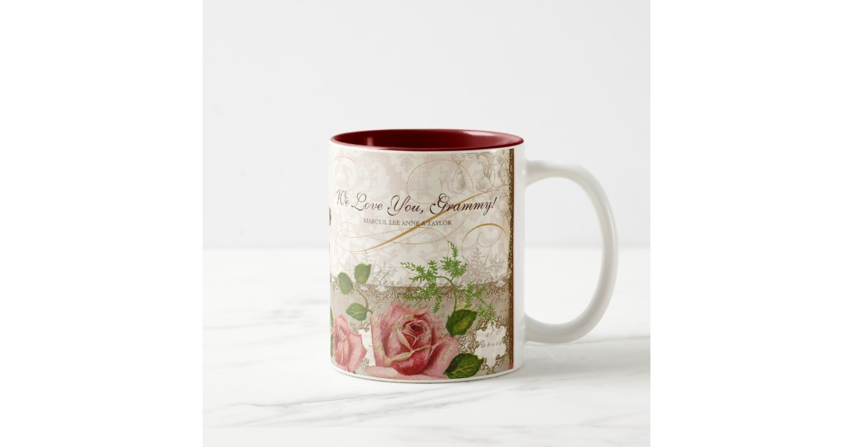 je t 39 aime grammy tasse anglaise vintage de roses. Black Bedroom Furniture Sets. Home Design Ideas
