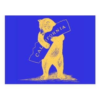 Je t'aime la Californie--Bleu et or Cartes Postales