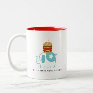 Je t'aime plus que des hamburgers 11 onces. Tasse