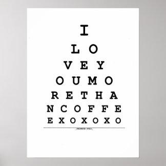 Je t'aime plus que l'affiche de café posters