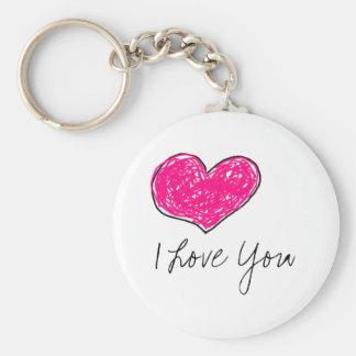 Je t'aime porte-clé rond