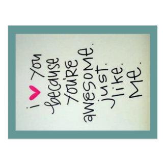 Je t'aime puisque vous êtes carte postale