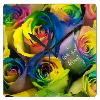 Je t'aime roses personnalisés mignons horloge carrée