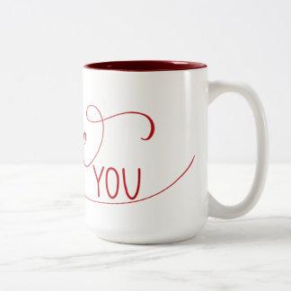 """""""Je t'aime"""" tasse en lettres de main"""