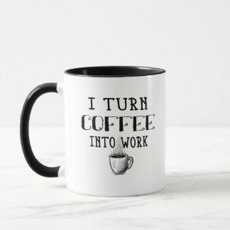 Je transforme le café en tasse de travail