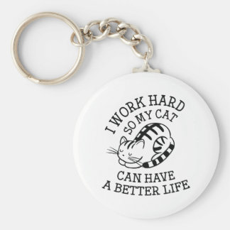 Je travaille dur porte-clé rond