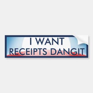 Je veux des reçus autocollant de voiture