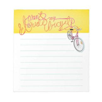 Je veux monter ma bicyclette - bloc - notes rayé blocs notes