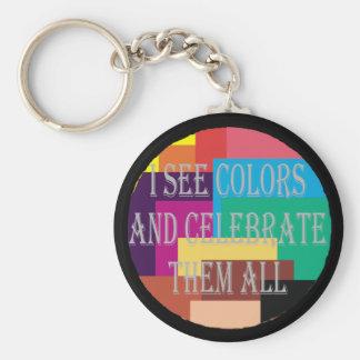 Je vois le porte - clé de couleurs porte-clé rond