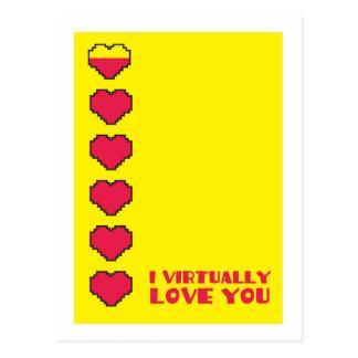 Je vous aime pratiquement les coeurs numériques carte postale