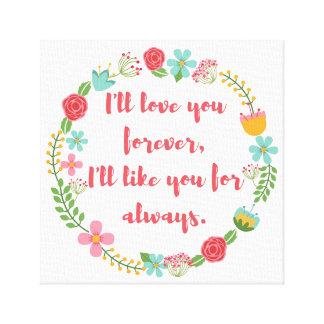 Je vous aimerai pour toujours impression florale