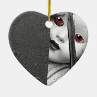 Je vous vois ornement cœur en céramique
