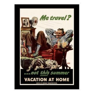 Je voyage non ces vacances d'été à la maison cartes postales
