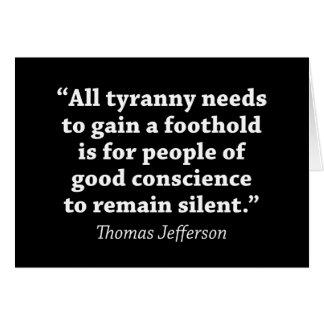 Jefferson : Ne restez pas silencieux Carte De Vœux