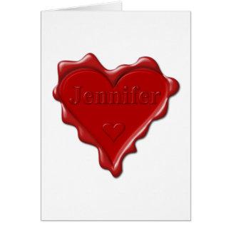Jennifer. Joint rouge de cire de coeur avec Carte De Vœux