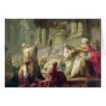 Jéroboam sacrifiant au veau d'or, 1752 carte de vœux