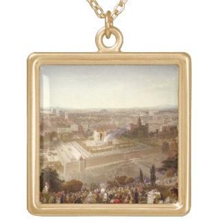 Jérusalem dans sa splendeur, gravée par Charles Mo Pendentif Carré