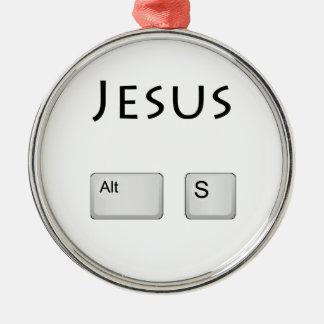 Jésus alt S Ornement Rond Argenté